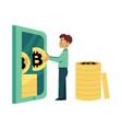 flat bitcoin mining businessman concept vector image vector image