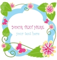 Flower decorative frame with text vector image vector image