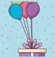 gift box present with balloons helium vector image vector image