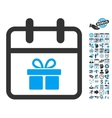 Gift Day Flat Icon With Bonus vector image vector image