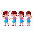 girl kindergarten kid poses set baby vector image