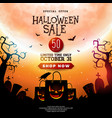 halloween sale with scary faced vector image vector image