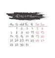Handdrawn calendar December 2015 vector image vector image