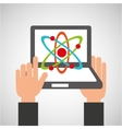 hands holds laptop-online education physics vector image