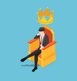 isometric businessman sitting on throne vector image vector image