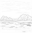 landscape forest river outline vector image