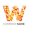 letter w logo with orange yellow red particles vector image
