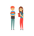 male and female students standing with books vector image vector image