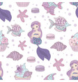 mermaid invites sea girl seamless pattern i vector image vector image