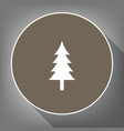 new year tree sign white icon on brown vector image vector image