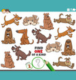 one a kind game for kids with cartoon dogs vector image vector image