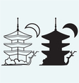 Pagoda Japan architecture silhouette vector image vector image