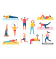 pumping muscles or stretching lifestyle vector image