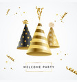 realistic detailed 3d gold hat party template vector image