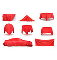 red silk cloth covered objects realistic set vector image vector image