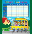 school timetable composition 8 vector image