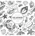 seafood seamless pattern for restaurants vector image vector image