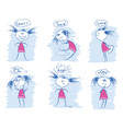 set of young girl emotions doodle hand draw vector image vector image