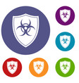 shield with a biohazard sign icons set vector image vector image