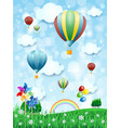 spring landscape with hot air balloons vertical vector image vector image