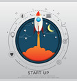 start up concept flat line and paper art design vector image vector image