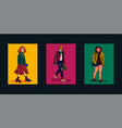 street fashion set cards with stylish girls in vector image