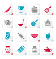 stylized cooking equipment icons vector image vector image