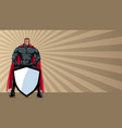 superhero holding shield ray light background vector image vector image