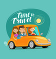 travel concept happy friends ride retro car on vector image vector image
