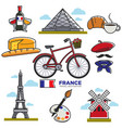 travelling to france touristic map vector image vector image