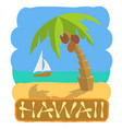 tropical island with palm tree and boat vector image vector image