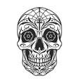 vintage mexican sugar skull monochrome template vector image vector image