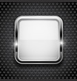 white button on metal perforated background vector image vector image