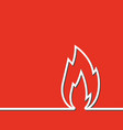 white line sign flame icon vector image