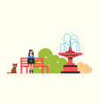 woman freelancer working on laptop autumn bench vector image vector image