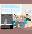 family watching tv vector image