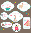 set of baby shower badges invitation tags with vector image