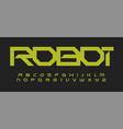 alphabet in robotic technology style geometric vector image