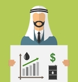 Arabic Businessman Holding Banner with Graphic of vector image