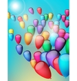 Background with colorful balloons in the sky vector image