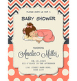 Beautiful baby girl shower card with cute little vector image vector image