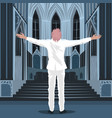 believing man standing inside cathedral church vector image vector image
