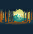 cartoon nature landscape with mountain and forest vector image vector image