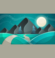 cartoon night landscape fir moon vector image