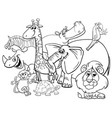 cartoon safari animals coloring page vector image vector image
