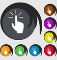 Click here hand icon sign Symbols on eight colored vector image vector image