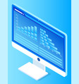 computer monitor with presented visualized data vector image vector image