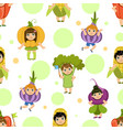 cute kids in vegetables costumes seamless pattern vector image
