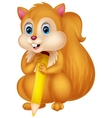 Cute squirrel cartoon holding pencil vector image vector image