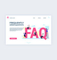 frequently asked questions landing web page vector image